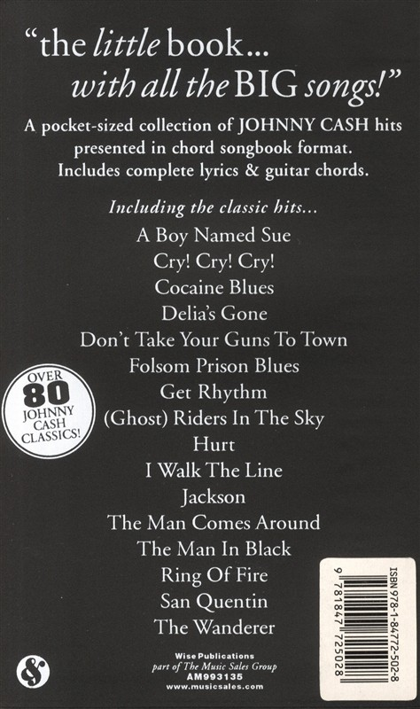 The Little Black Songbook: Johnny Cash - Trax Music Store