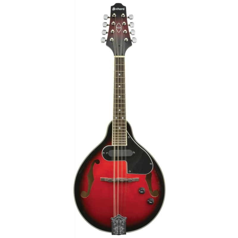 The Chord CEM28 Electric Mandolin Redburst is an electric teardrop-style mandolin with a linden body and neck, and a rosewood fingerboard.