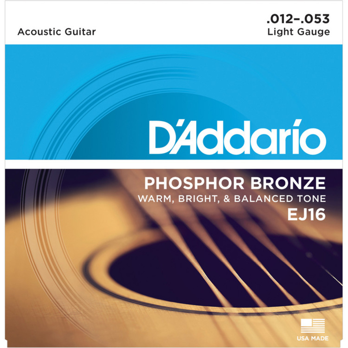 DAddario EJ16 Phosphor Bronze Guitar Strings 12-53