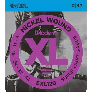 D'Addario EXL120 Electric Guitar Strings 09-42
