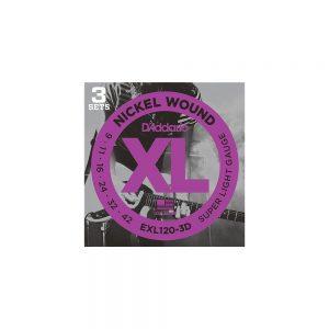 D'Addario EXL120-3D Electric Guitar Strings 09-42 3-Pack