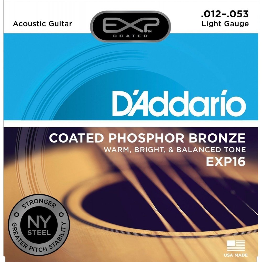 D'Addario EXP16 Phosphor Bronze Acoustic Guitar Strings 12-53