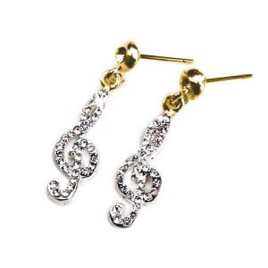 Earrings Golden Treble Clef Design With Crystals
