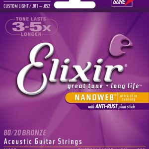 Elixir Nanoweb Custom Light Guitar Strings 11-52