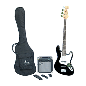 SX SB1 Jazz Bass Guitar Kit Black