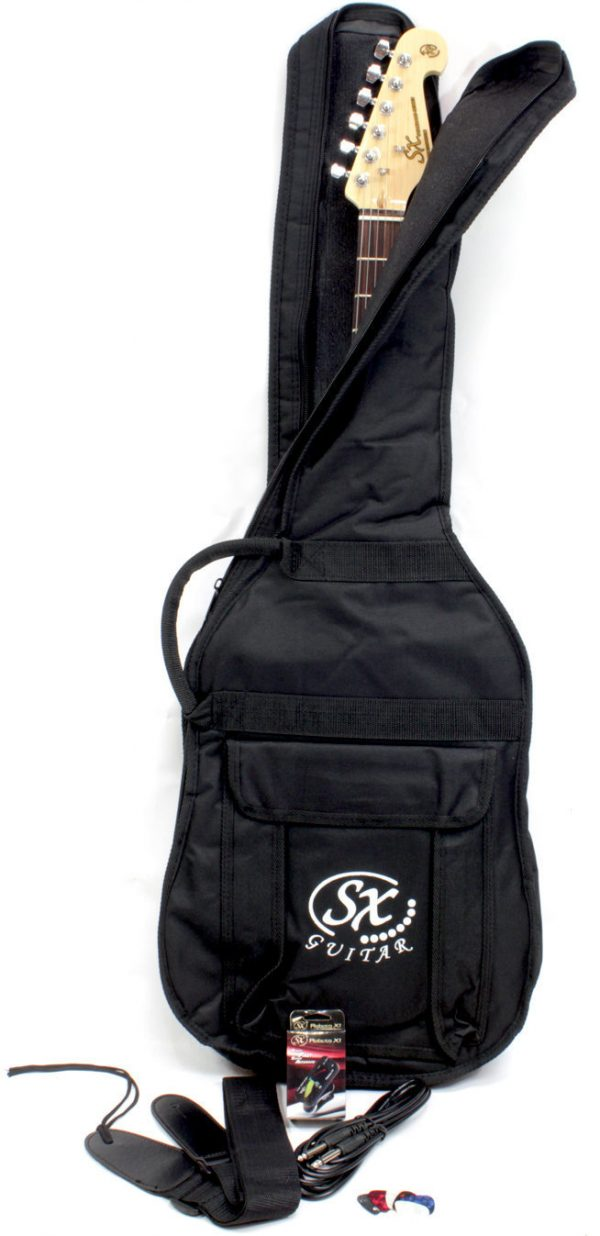 SX SE1 Strat Style Guitar Pack Black