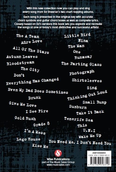 Ed Sheeran: Guitar Chord Songbook - Trax Music Store