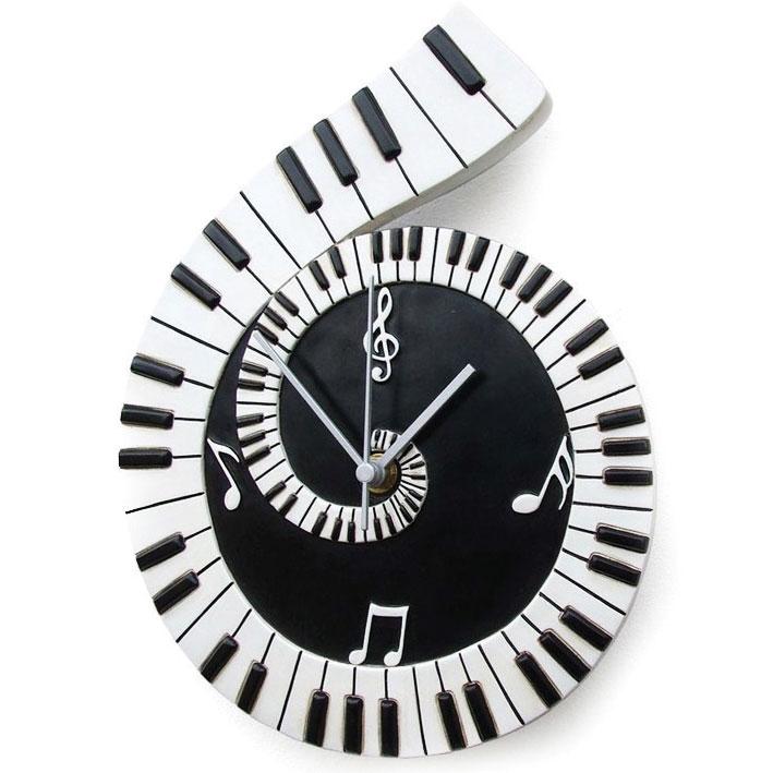 Wall Clock Piano Scroll
