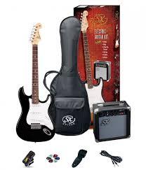 SX SE1 Strat Style Guitar Pack Left Hand Black