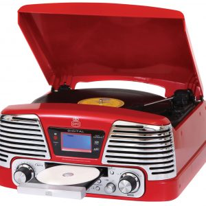 GPO Memphis Retro Turntable, FM Radio and CD Player – Red