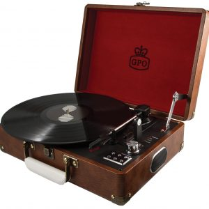 GPO Attaché Suitcase Record Player Vintage Brown