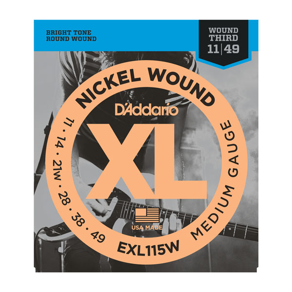 D'addario EXL115W Nickel Wound Guitar Strings 11-49