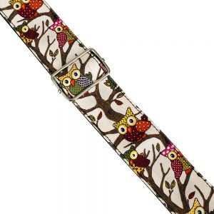 Owl Pattern Guitar Strap by Trax Light Brown