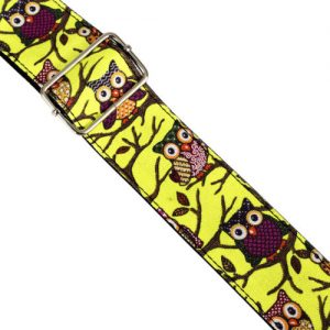 Owl Pattern Guitar Strap by Trax Neon Yellow