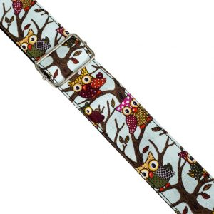 Owl Pattern Guitar Strap by Trax Light Blue