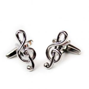 Cufflinks Treble Clef Rhodium Plated