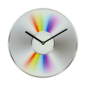 Musicology Glass Wall Clock Cd Design 30Cm