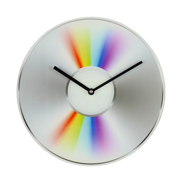 Musicology Glass Wall Clock Cd Design 30Cm