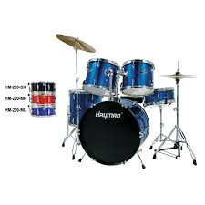 Hayman HM100-MU Start Series 5 Piece Drum Kit, Metallic Blue
