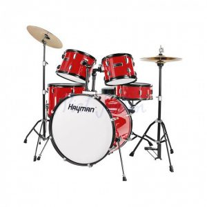 Hayman HM100-MR Start Series 5 Piece Drum Kit, Metallic Red