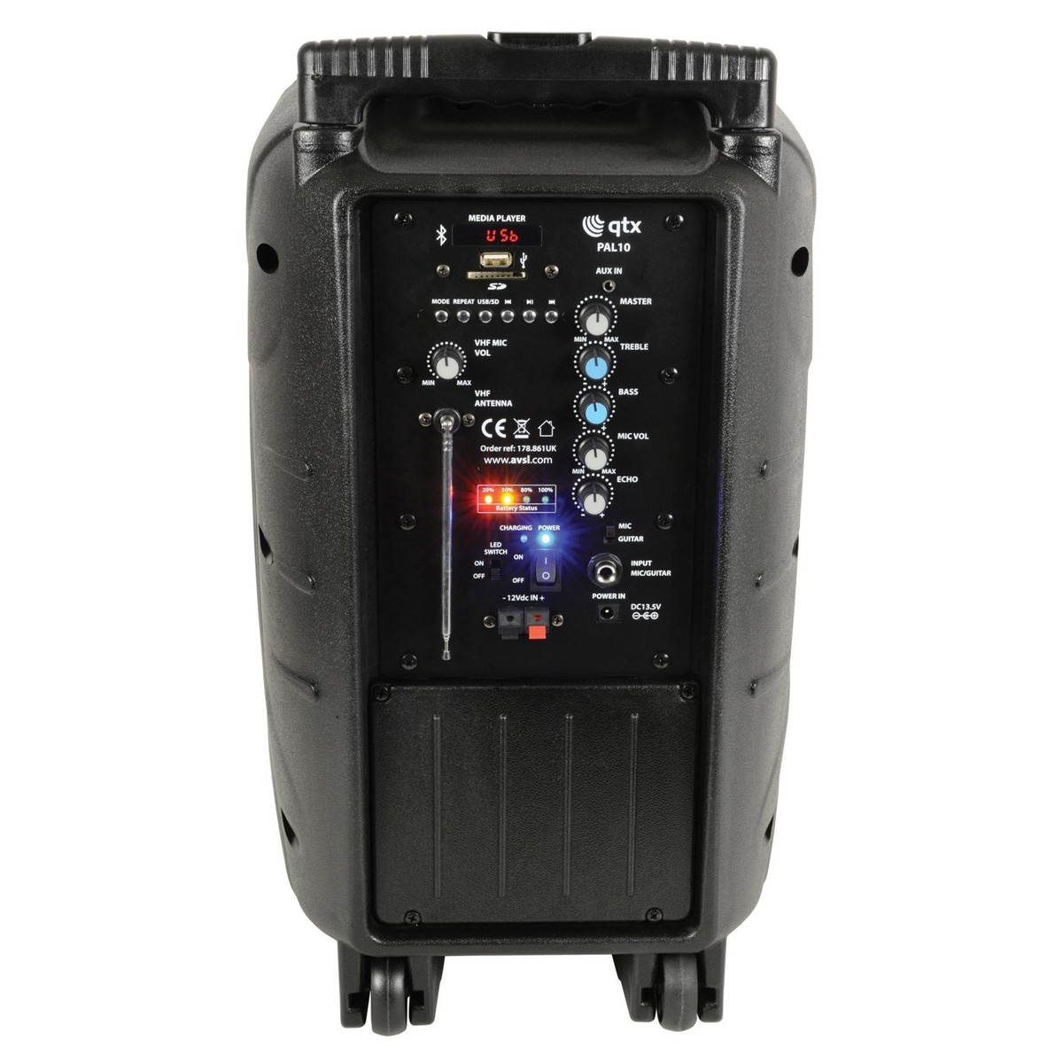 QTX PAL10 Portable PA with Bluetooth and LED FX