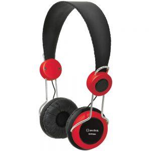 AV:Link Lightweight Headphones with In-line Microphone - Red