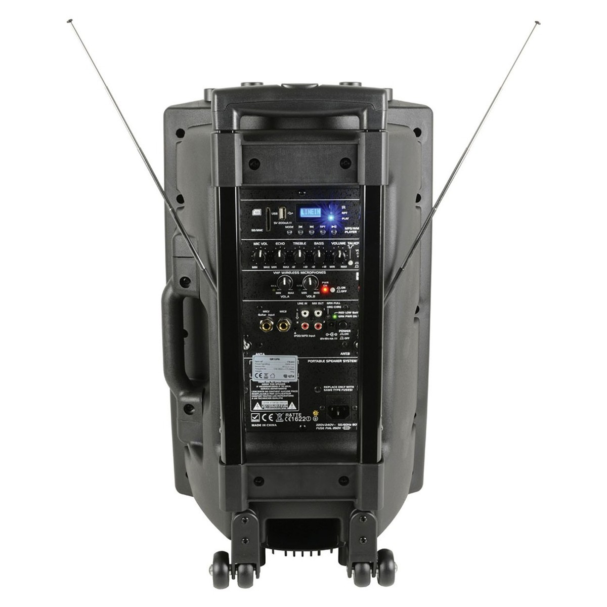 qtx qr12pa portable pa system with wireless mics trax music store. Black Bedroom Furniture Sets. Home Design Ideas