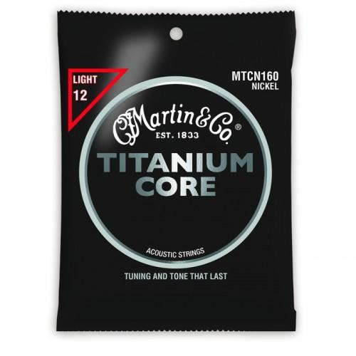 Martin MTCN160 Titanium Core Acoustic Strings, Light (.012-.055)