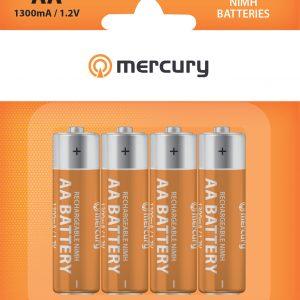 Mercury AA 1300mAh NiMH Rechargeable Batteries 4 Pack