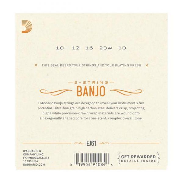 D'Addario EJ61 5-String Banjo Nickel Wound Medium Gauge 10-23