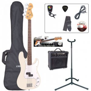 Encore E4 Bass Guitar Pack Vintage White