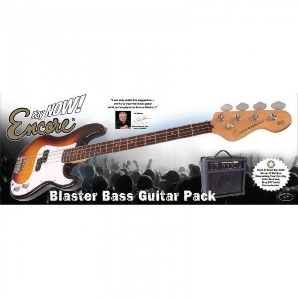 Encore E4 Bass Guitar Pack Vintage White