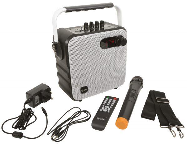 QTX QX05PA Portable Bluetooth Party Speaker w/Wireless Microphone White