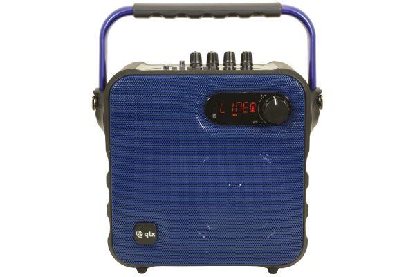 QTX QX05PA Portable Bluetooth Party Speaker w/Wireless Microphone Blue