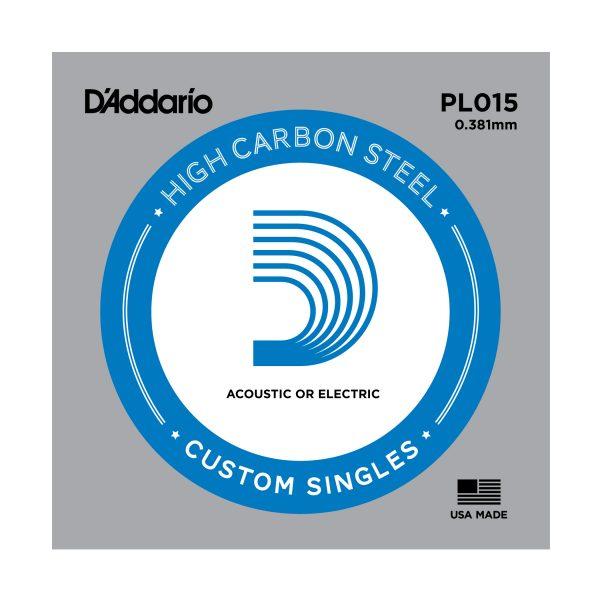 Daddario PL015 Single Plain Steel .015