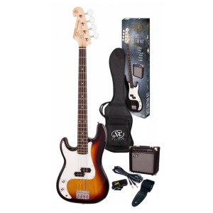 SX SB2 Precision Bass Kit Left Handed 3 Tone Sunburst