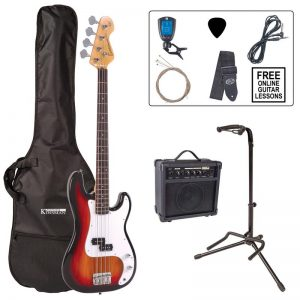 Encore E4 Bass Guitar Pack Sunburst